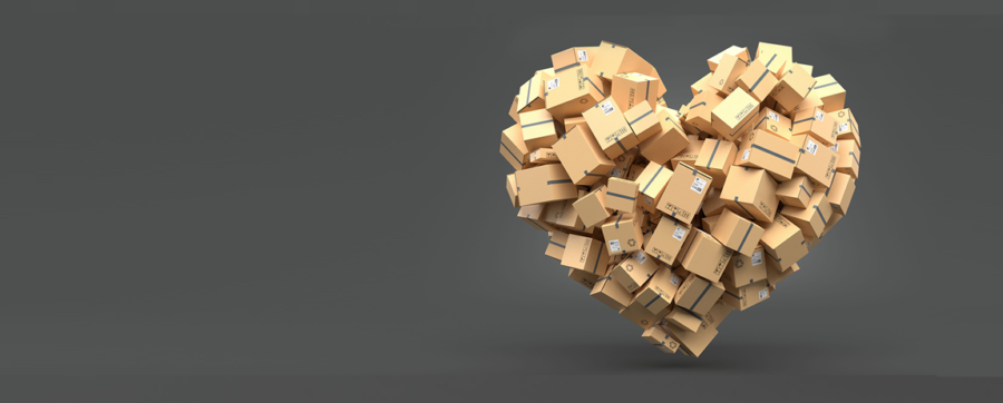 Heart shape made from boxes
